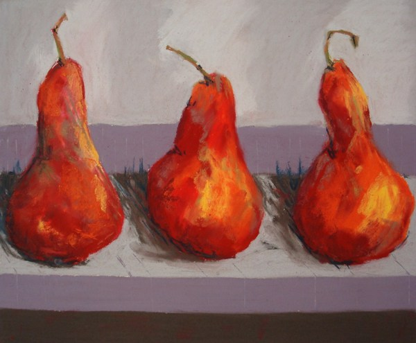 3 Red Pastel Pears